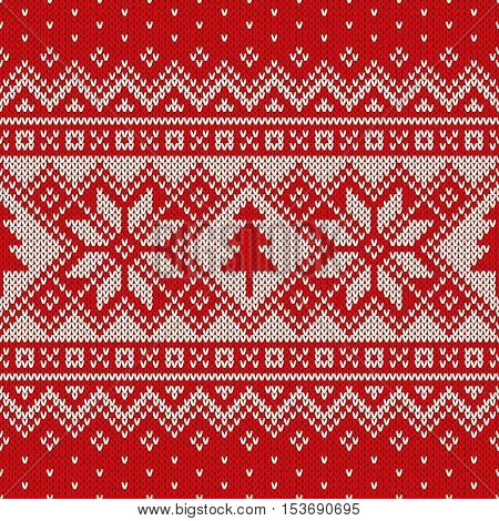 Winter Holiday Seamless Knitting Pattern with a Christmas Trees and Snowflakes. Fair Isle Knitted Sweater Design. Christmas Seamless Background