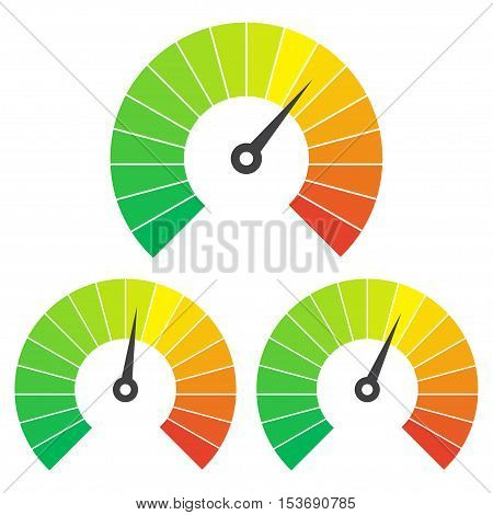 Set of measuring icons on a white background. Speedometer icons set