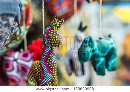 funny colorful handmade fabric toys at african market