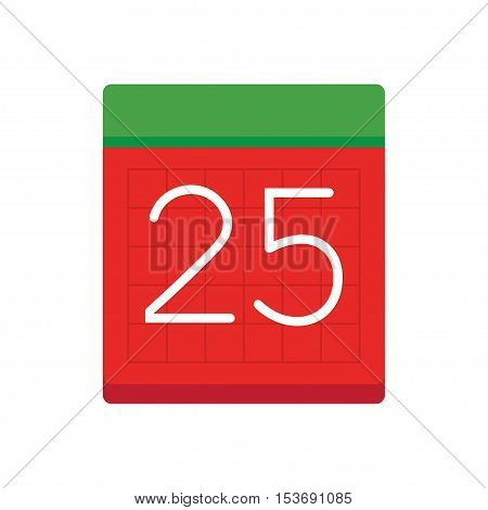 Simple flat calendar with date 25. vector on white background