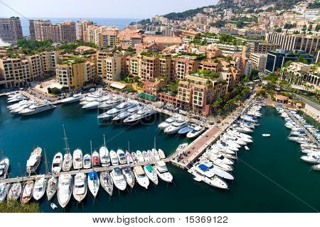 Quay in Monaco. Wide angle view.