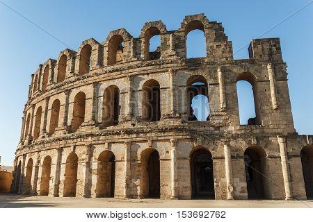 El Djem amphitheatre, the most impressive Roman remains in Africa. Mahdia, Tunisia. UNESCO World Heritage Site.