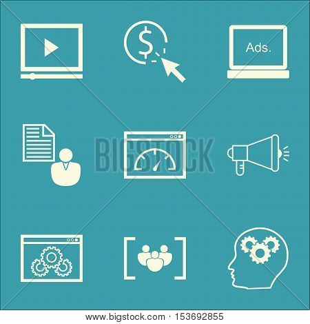 Set Of Advertising Icons On Video Player, Digital Media And Media Campaign Topics. Editable Vector I