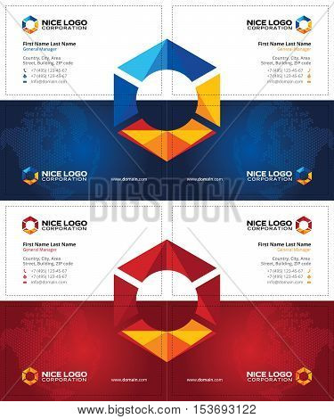 creative business cards with multicolored hexagon, oil and gas cards template, dark blue and dark red background