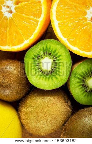 Fresh ripe fruit with vitamin C, close-up