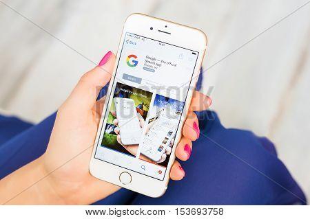 RIGA LATVIA - SEPTEMBER 8 2016: Google official search app on App Store.