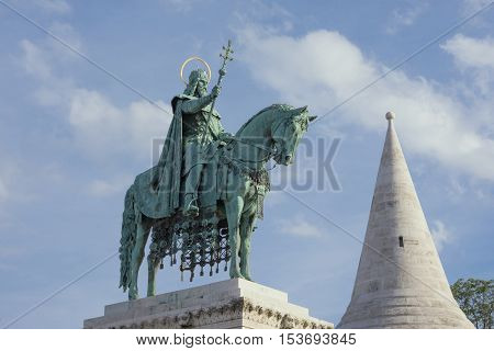 Bronze equestrian statue of Saint Stephen King of Hungary erected in 1906 in Fisherman's Bastion Square in Budapest