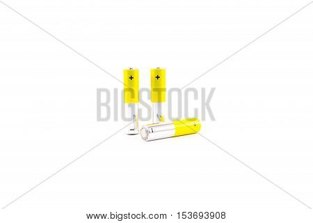Three batteries on a white background. Isolated.