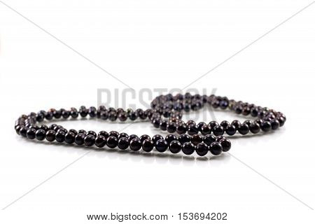 beads from black pearls isolated on white background