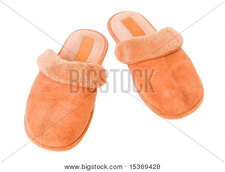 Orange slippers. Isolated on white.