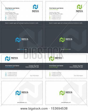 business cards with the letter m, gray, blue and green colors