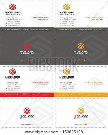 gray business cards with the letter s, red and yellow colors