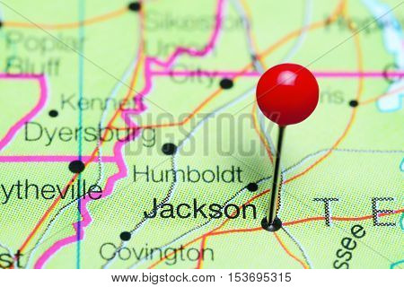 Jackson pinned on a map of Tennessee, USA