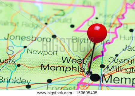West Memphis pinned on a map of Arkansas, USA