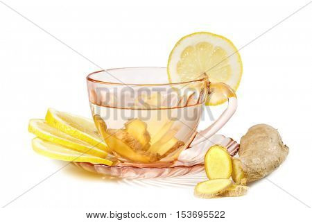 A cup of ginger tea with lemon. Ginger tea  isolated on white background