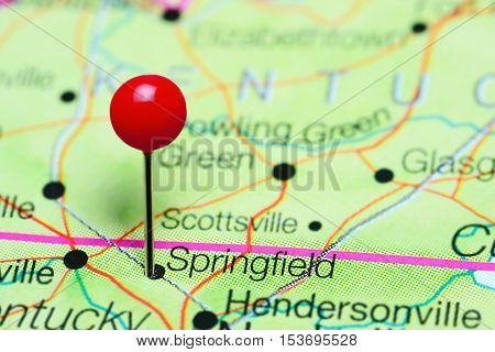 Springfield pinned on a map of Tennessee, USA