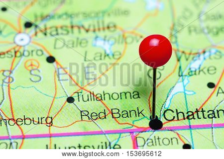 Red Bank pinned on a map of Tennessee, USA