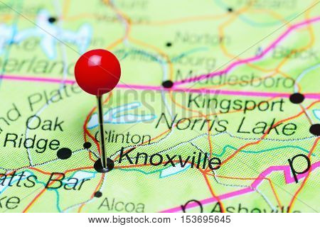Knoxville pinned on a map of Tennessee, USA