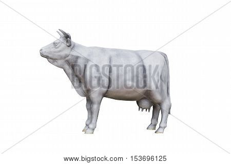 View of the beautiful cow statue for a garden on white background