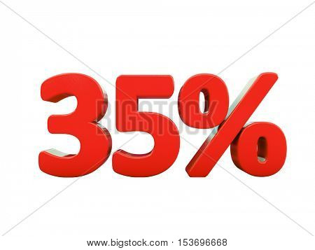 3d Render: Isolated 35 Percent Sign on White Background