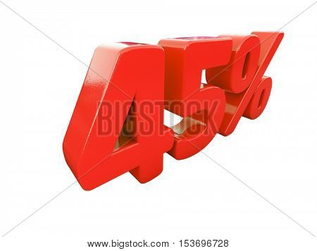 3d Render: Isolated 45 Percent Sign on White Background