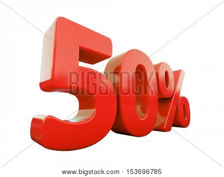 3d Render: Isolated 50 Percent Sign on White Background