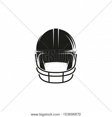 Isolated abstract black color baseball helmet logo on white background. Professional sport equipment logotype. Head protection icon. Safety element sign. Vector baseball helmet illustration
