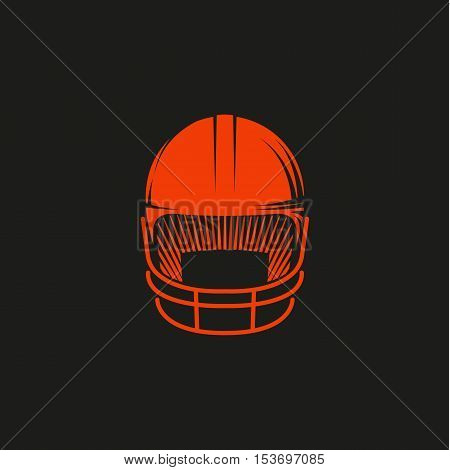 Isolated abstract red color baseball helmet logo on black background. Professional sport equipment logotype. Head protection icon. Safety element sign. Vector baseball helmet illustration