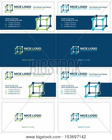 molecular cube business cards, dark blue, green, and blue colors