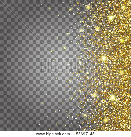 Effect of flying parts gold glitter luxury rich design background. Light gray background from the side. Stardust spark the explosion on a transparent background. Luxury golden texture.