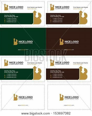 letter B with arrows up and down business cards, gold, dark green and dark brown colors