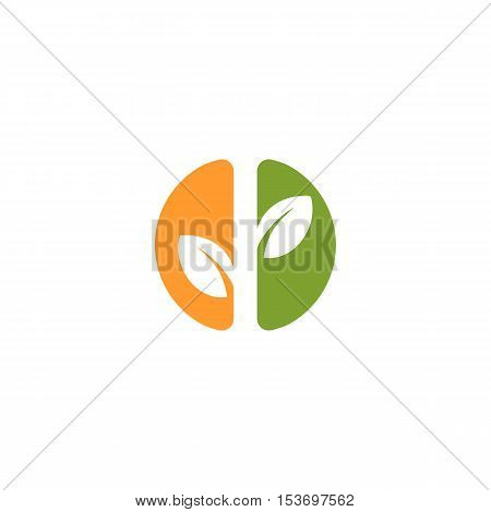 Isolated abstract green and orange color round shape logo. Leaf logotype. Natural cosmetics icon. Eco system element. Organic products sign. Healthcare emblem. Vector leaf illustration