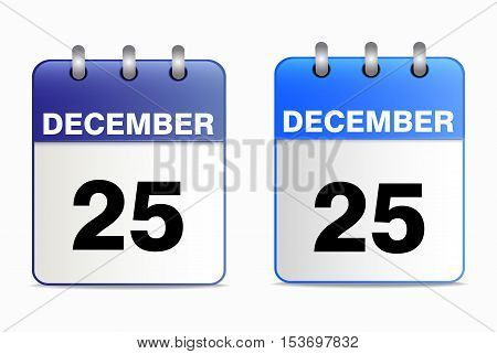 A set of desktop calendars blue in two ways. Date 25 Dec. Vector  illustration of Christmas icons. Horizontal location.