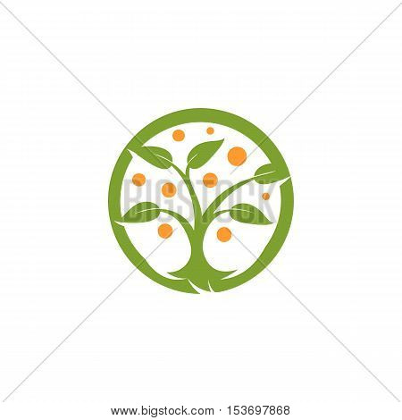 Isolated abstract round shape green, orange color tree logo. Natural element logotype. Leaves and trunk icon. Park or forest sign. Environmental symbol. Vector tree illustration.