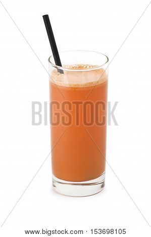 glass of carrot juice on white background