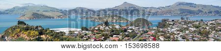 The panoramic view of Port Chalmers the suburb of Dunedin city (New Zealand)