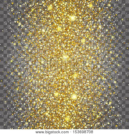 Effect of flying often at the center of the gold luster luxury design rich background. Light gray background. Stardust spark the explosion on a transparent background. Luxury golden texture.