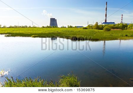 Beautiful river bank and power plant.