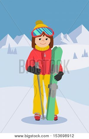 Flat design vector illustration of young woman from the mountain by ski equipped.