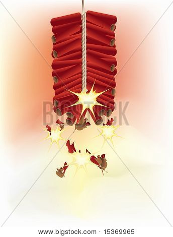 Red firecrackers going off