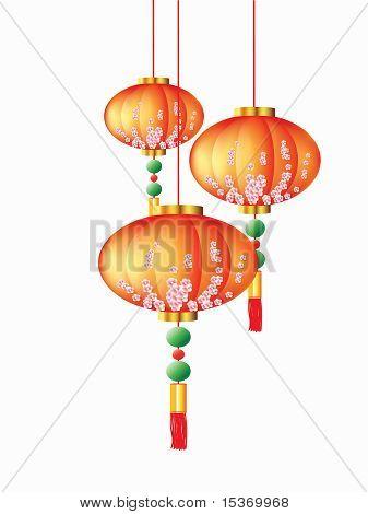 Chinese lanterns, background, orange on white