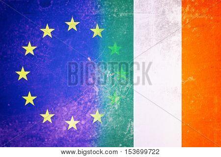 EU and Irish flag - Vintage flag concep