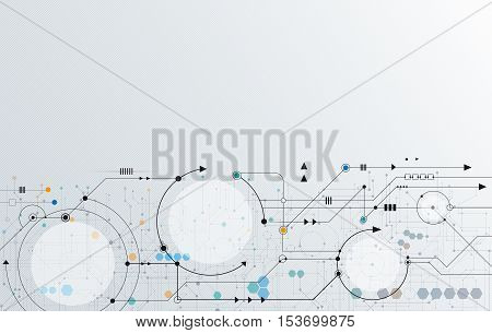 Vector Abstract futuristic. Illustration circuit board, high computer technology. light gray color background. Hi-tech digital technology concept