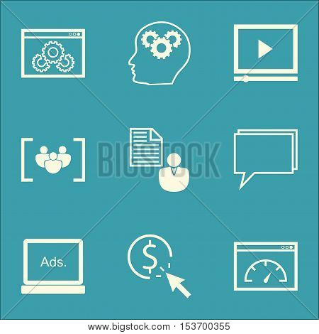 Set Of Advertising Icons On Loading Speed, Video Player And Website Performance Topics. Editable Vec