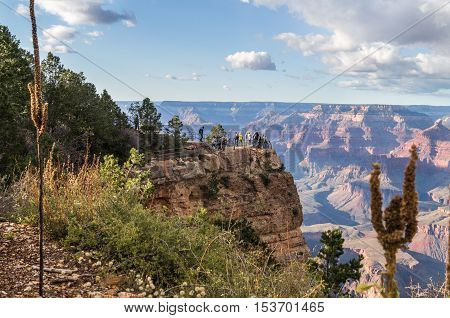 An amazing view of the Grand canyon (south rim) Arizona USA against cloudy sky.