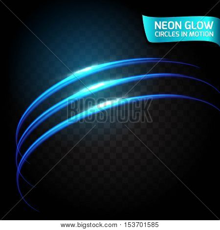 Neon Glow circles in motion blurred edges, bright glow glare design holiday. Abstract glowing rings slow shutter speed of the effect. Abstract lights in a circular motion.