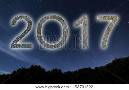 2017. Colorful Glow 2017 New Year. Night Sky.
