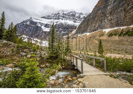 Footbridge Over A Stream In The Rocky Mountains - Alberta, Canada