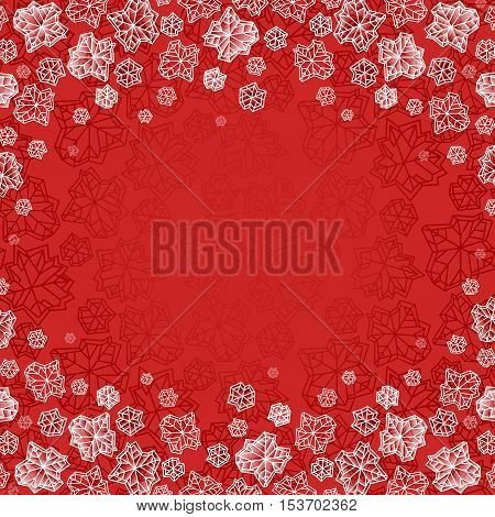 Winter polygonal trendy style snowflakes on red background. Winter holidays snowfall concept winter label. Vertical frame. Fall snowflake snow red white vector illustration stock vector.