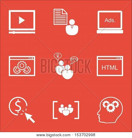 Set Of Marketing Icons On Coding, Video Player And Website Performance Topics. Editable Vector Illus